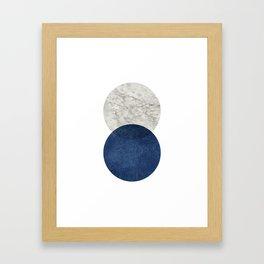 Marble blue navy abstract minimalist scandinavian Framed Art Print