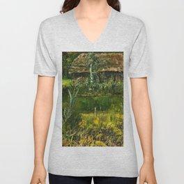 Birch Trees on the Lake landscape painting by Emilie Mediz-Pelikan Unisex V-Neck