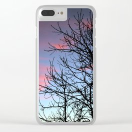 Skyscapes Pink Skies Silhouette Clear iPhone Case