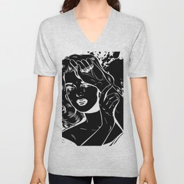 Crying Comic Book Damsel in Distress Unisex V-Neck