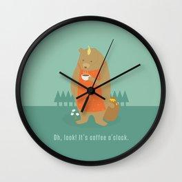 Bear Drinking Coffee Wall Clock