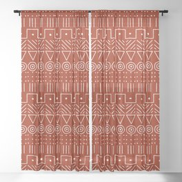 Mudcloth Style 1 in White on Red Sheer Curtain
