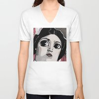 leia V-neck T-shirts featuring Leia by Drawn by Nina