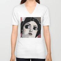 princess leia V-neck T-shirts featuring Leia by Drawn by Nina
