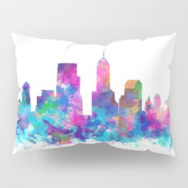 indianapolis city skyline watercolor 4 Pillow Sham