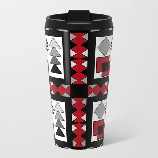 Ethnic pattern in red-black-white colors Metal Travel Mug