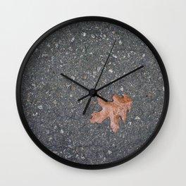 Lone Leaf on Road Wall Clock