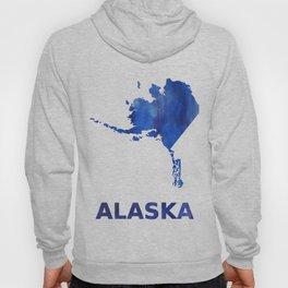 Alaska map watercolor Hoody