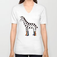 socks V-neck T-shirts featuring Zebra Socks by Kendra Blinde