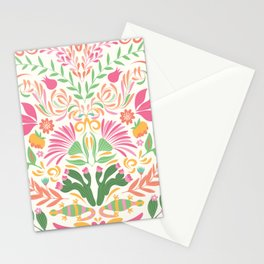 Tropical Pattern in Pink and Green Stationery Cards