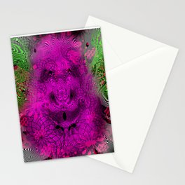 Grape Gorilla Man (abstract, psychedelc, op art, halftone) Stationery Cards