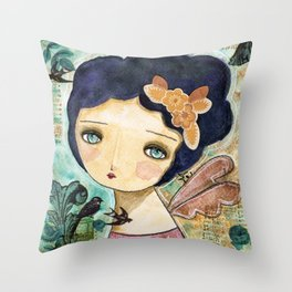 Charity Wings Watercolor Collage Throw Pillow