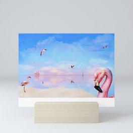 Flamingo sunset/sunrise Mini Art Print