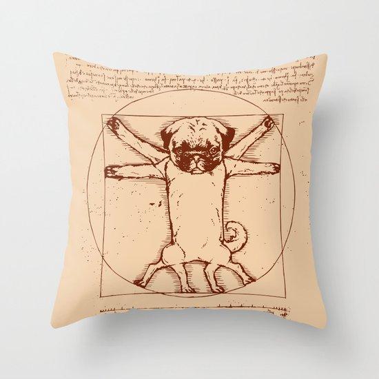 Vitruvian pug Throw Pillow