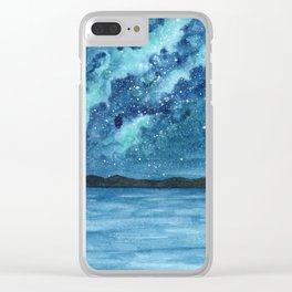 """Sea Glass Galaxy"" watercolor landscape painting Clear iPhone Case"