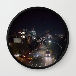 Late Night Shibuya // City Skyline Streets Wall Clock