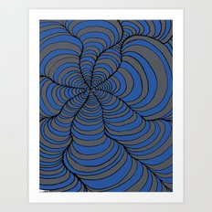Tunnels Blue and Silver Art Print