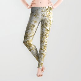 White and Gold Patina Style Design Leggings