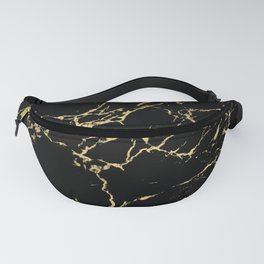 Modern Black and Gold Marble Fanny Pack