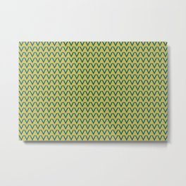 Tropical Dark Teal V Shape Horizontal Line Pattern Inspired by Sherwin Williams 2020 Trending Color Oceanside SW6496 on Dark Yellow Metal Print