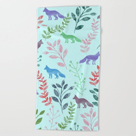 Watercolor Floral & Fox Beach Towel