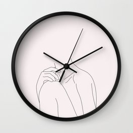 Nude figure line drawing illustration - Cathy Natural Wall Clock