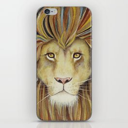 The Sun King - Lion watercolor with gold iPhone Skin