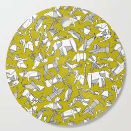 origami animal ditsy chartreuse Cutting Board