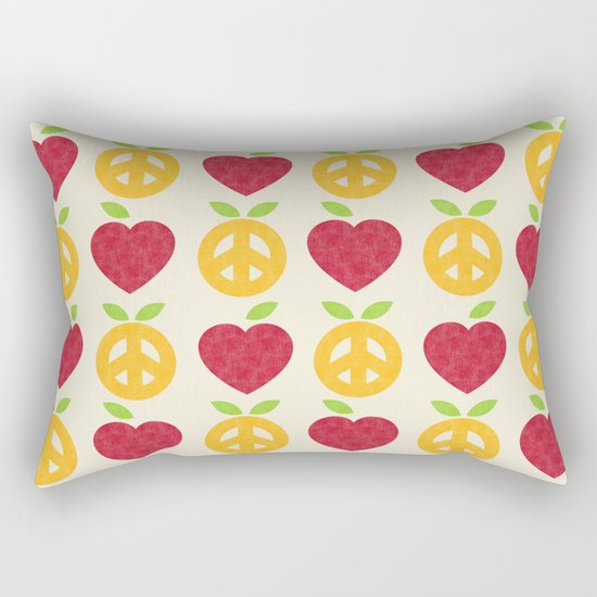 Apple and Orange - Love and Peace Rectangular Pillow