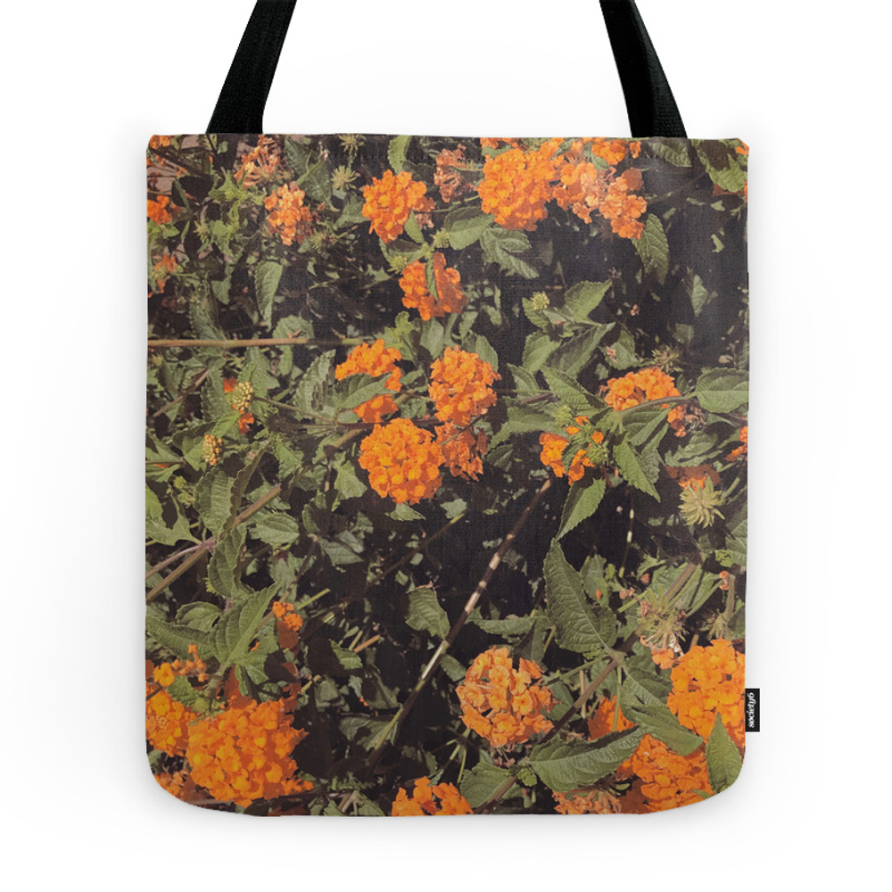 Orange Flower Tote Purse by heyboyfriend (TBG7874419) photo