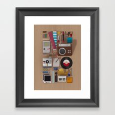 Stuff (wood background) Framed Art Print