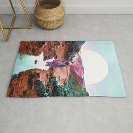Astronaut and Colorful Landscape Rug