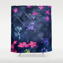 Pink, Blue Trailing Flowers Shower Curtain