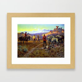"""""""Whiskey Smugglers"""" by Charles M Russell Framed Art Print"""