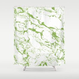 Modern white green marble greenery color of the year pattern Shower Curtain