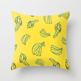 3D Bananas PatternYellow Throw Pillow