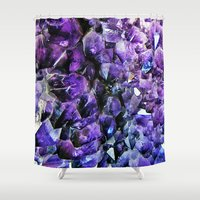 geode Shower Curtains featuring Amethyst Geode by The Wellington Boot