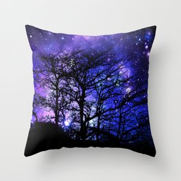 Black Trees Blue Violet Purple Space Throw Pillow