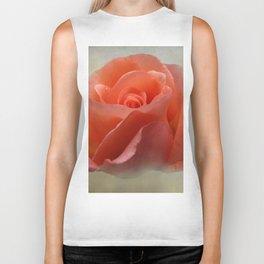 Romantic Peachy Rose Floral Biker Tank