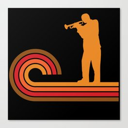 Retro Style Trumpet Player Silhouette Music Canvas Print