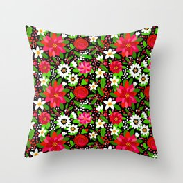Christmas Flowers and Holly, Poinsettia, Roses and Lilies, holidays, girls floral gift, gift for mom Throw Pillow
