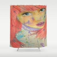 allison argent Shower Curtains featuring Allison by Taylor Starnes