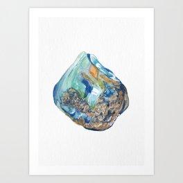 Opal October Birthstone Watercolor Illustration Art Print