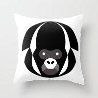 gorilla Throw Pillows featuring Gorilla by Alvaro Tapia Hidalgo