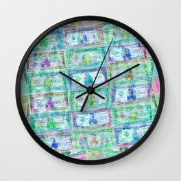 540 Million Dollars Blue Green Pastel Money Bling Cash Dollar Bills Loot Coin Wall Clock