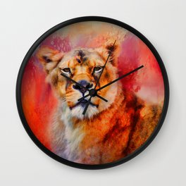 Colorful Expressions Lioness Wall Clock