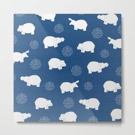 Happy Safari Hippo - Blue Metal Print