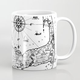 Vintage Map of Cape Cod BW Coffee Mug