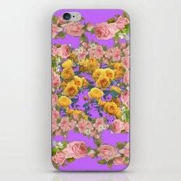 PINK & YELLOW SPRING ROSE GARDEN LILAC PURPLE VIGNETTE iPhone Skin