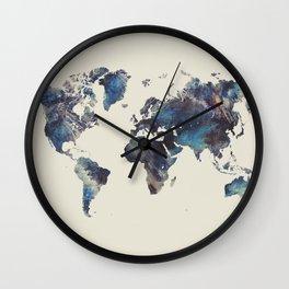 world map 124 blue  #worldmap #map Wall Clock